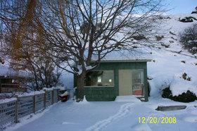 Beach cabin in winter